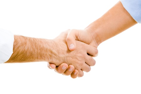 joined hands: Image of man's handshake isolated on white background