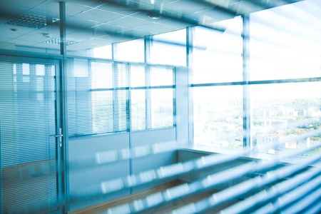 glass door: Image of corridor in office building with big windows passing daylight Stock Photo