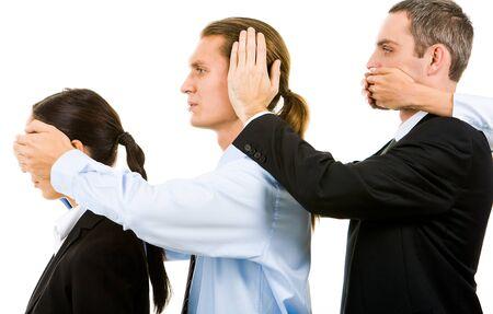 eyes closing: Fila de cerrar los ojos, boca y o�dos de la otra de asociados de negocios