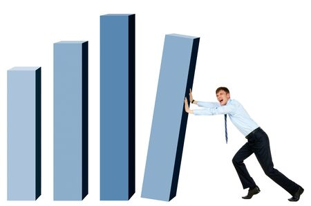 Modern businessman trying to put column of graph into place Stock Photo - 8519364