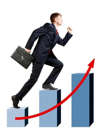 Immagine di uomo d'affari sicuri con valigetta al piano di sopra a piedi