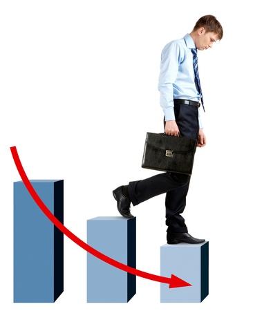 walking down: Image of sad businessman walking Downstairs