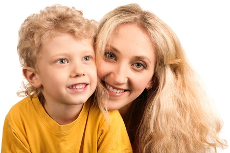 mothers group: Portrait of happy mother and her son over white background