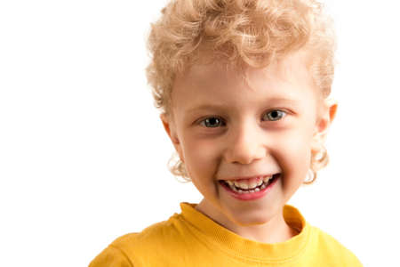 Portrait of happy lad laughing over white background Stock Photo - 8524783
