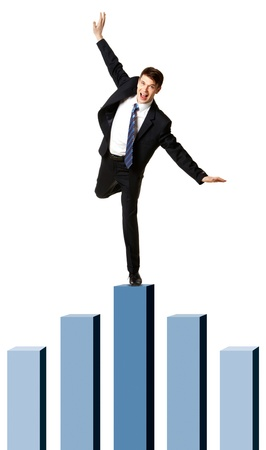 highest: Image of happy businessman standing on top of the highest chart column