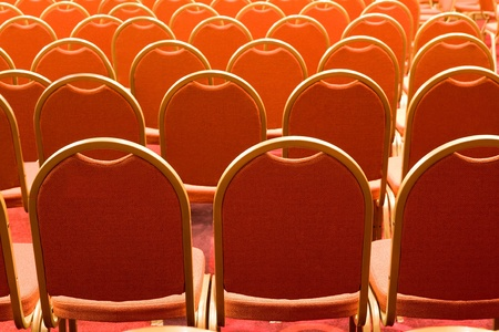 Image of several rows of red armchairs in conference hall Stock Photo - 8525375