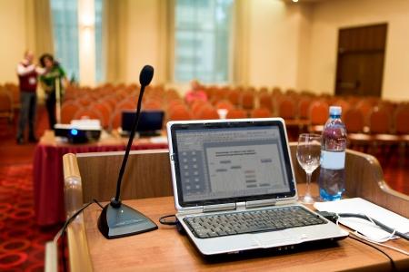sessão: Image of laptop on workplace of lecturer Imagens