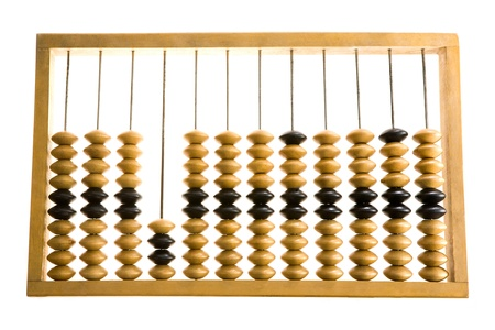 Close-up of wooden abacus over white background photo
