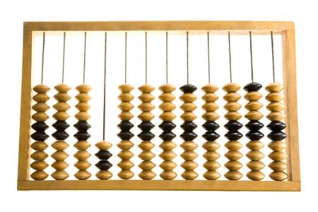 �baco: Primer plano de madera abacus sobre fondo blanco