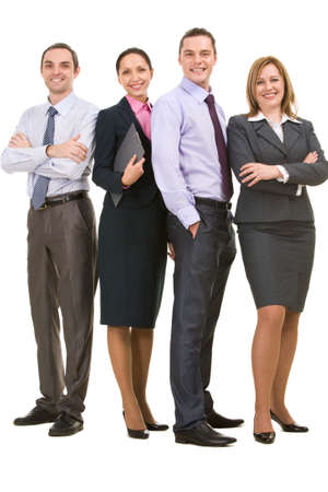 competitive business: Successful associates looking at camera Stock Photo