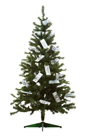 Image of Christmas fir tree decorated with dollar banknotes Stock Photo - 8531075