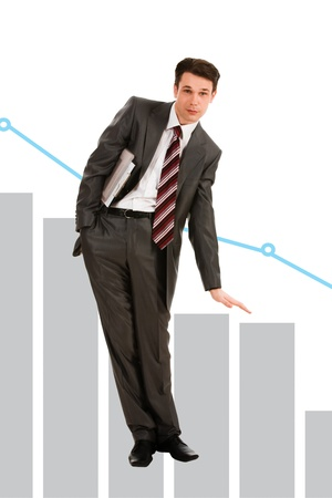 Creative photo of troubled businessman showing slide on graph Stock Photo - 9114991