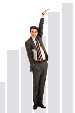 Creative photo of happy businessman showing rise on graph Stock Photo - 9114993