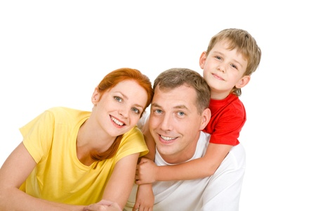 Portrait of happy family over white background  Stock Photo - 9115013