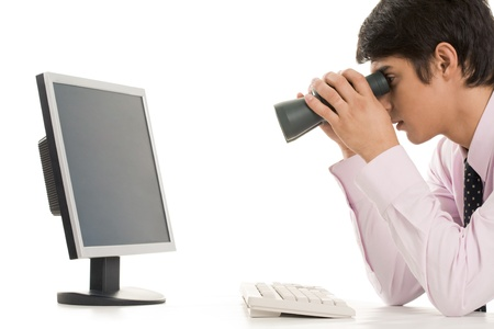 Conceptual image of specialist observing growth of sales  photo