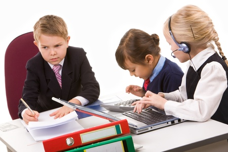 Photo of busy girls working at meeting with serious boss near by Stock Photo - 9163386
