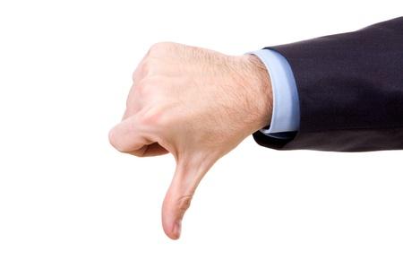 pollice in gi: Immagine della mano umana, mostrando il pollice gi� su sfondo bianco Archivio Fotografico