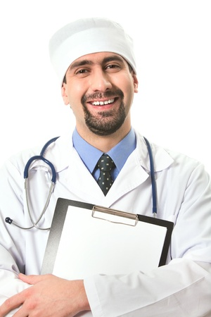 Portrait of smiling doctor with clipboard in hands looking at camera photo