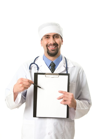 Portrait of confident doctor pointing at clipboard with prescriptions photo