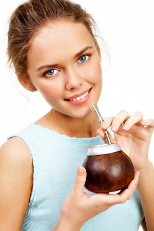 mate: Portrait of pretty young girl with brown calabash in hands