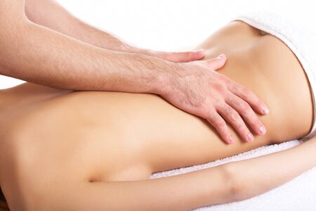 Image of female back being massaged by male hands Stock Photo - 9164244