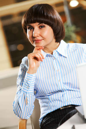 Portrait of pretty female looking aside Stock Photo - 9163931