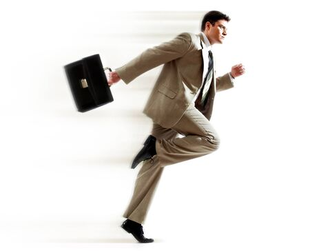 businessman running: Portrait of running businessman with briefcase against white background Stock Photo