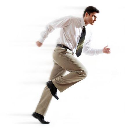 Portrait of running businessman over white background photo