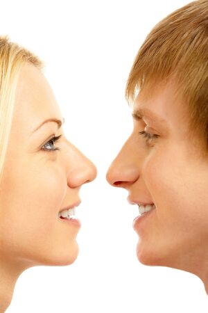 Loving couple looking at each other with affection photo