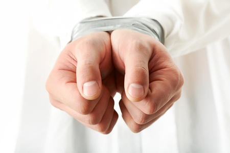 Photo of human hands bound with sticky tape Stock Photo - 9206839