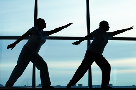 Silhouettes of two females doing physical exercise photo
