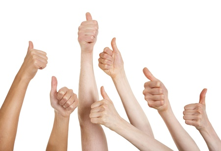 thumbs up symbol: Line of group of human hands showing thumbs up   Stock Photo