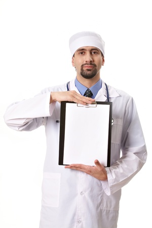 Portrait of physician showing blank paper in hands photo