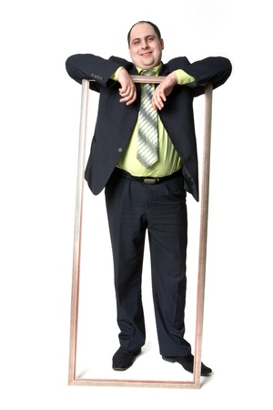 Photo of middle aged employer in suit on white background photo