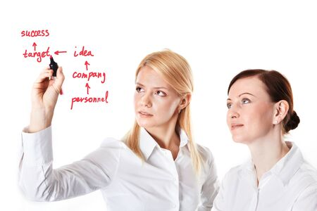 Two businesswomen drawing success scheme Stock Photo - 9263135
