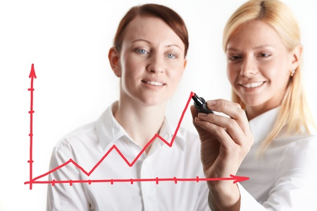 Two businesswomen drawing financial charts photo
