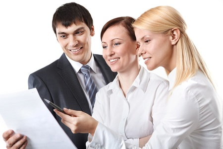 Three business people discussing some documents Stock Photo - 9263214