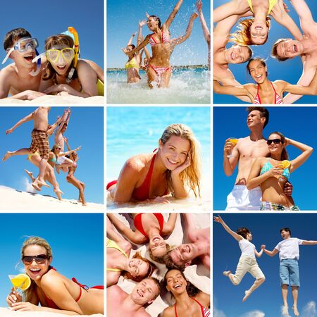 swimming at the beach: Collage of images with happy friends on beach