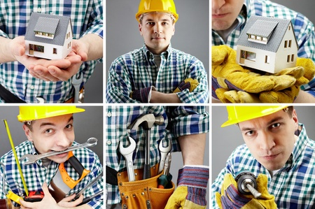 reparaturen: Collage von Bildern mit einem Arbeiter  Lizenzfreie Bilder