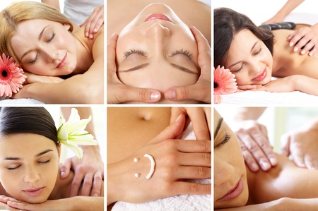 spa collage: Collage of young girls being massaged