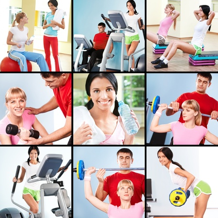 Collage of images young people exercising in gym  photo