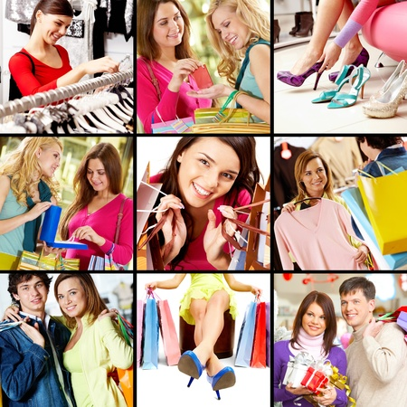 Collage of images with young people shopping photo