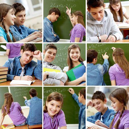 Collage de im�genes con adolescentes en la escuela  Foto de archivo - 9263839
