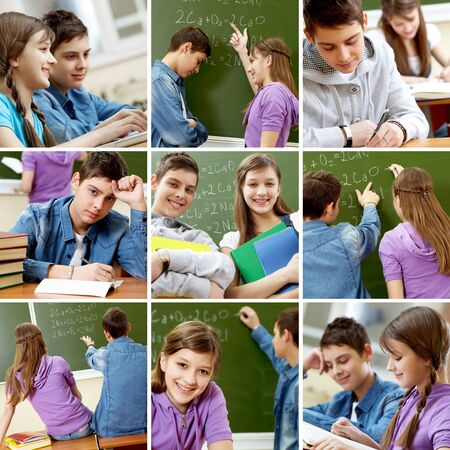 Collage of images with teenagers in school  photo