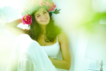 Beautiful woman in white dress looking at camera Stock Photo - 9298447