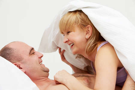 sex couple: Image of happy wife lying in her husband   Stock Photo