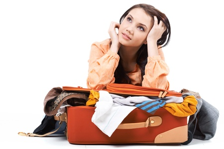 holdall: Portrait of pretty girl dreaming about vacation