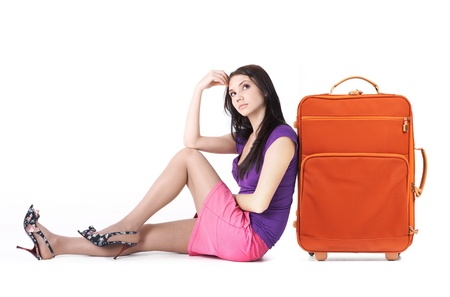 haversack: Image of young woman thinking about vacation