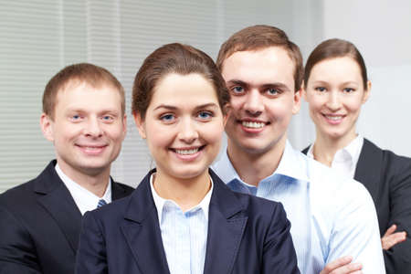 Portrait of a cheerful confident business team  Stock Photo - 9319737
