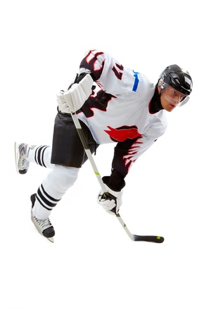 hockey player: Portrait of hockey player playing in game